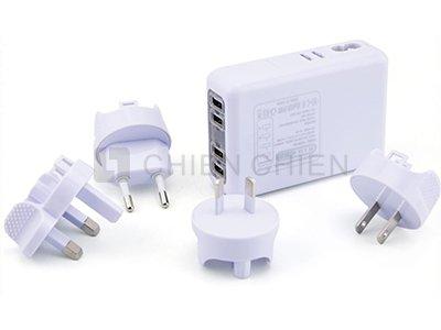 4 USB分插孔 轉換頭 多國用轉換器