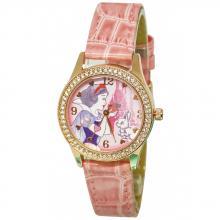 粉紅白雪水晶鑽精緻腕錶